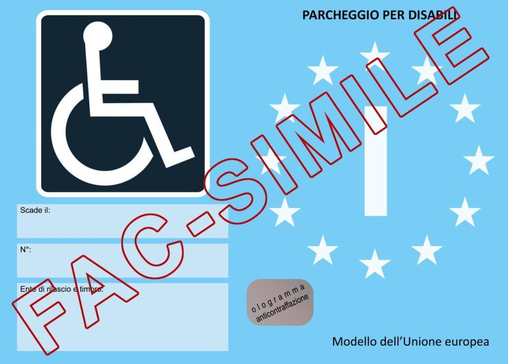 contrassegno parcheggio per disabili