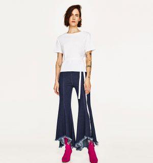 jeans a zampa di Zara , costo 49.95 euro
