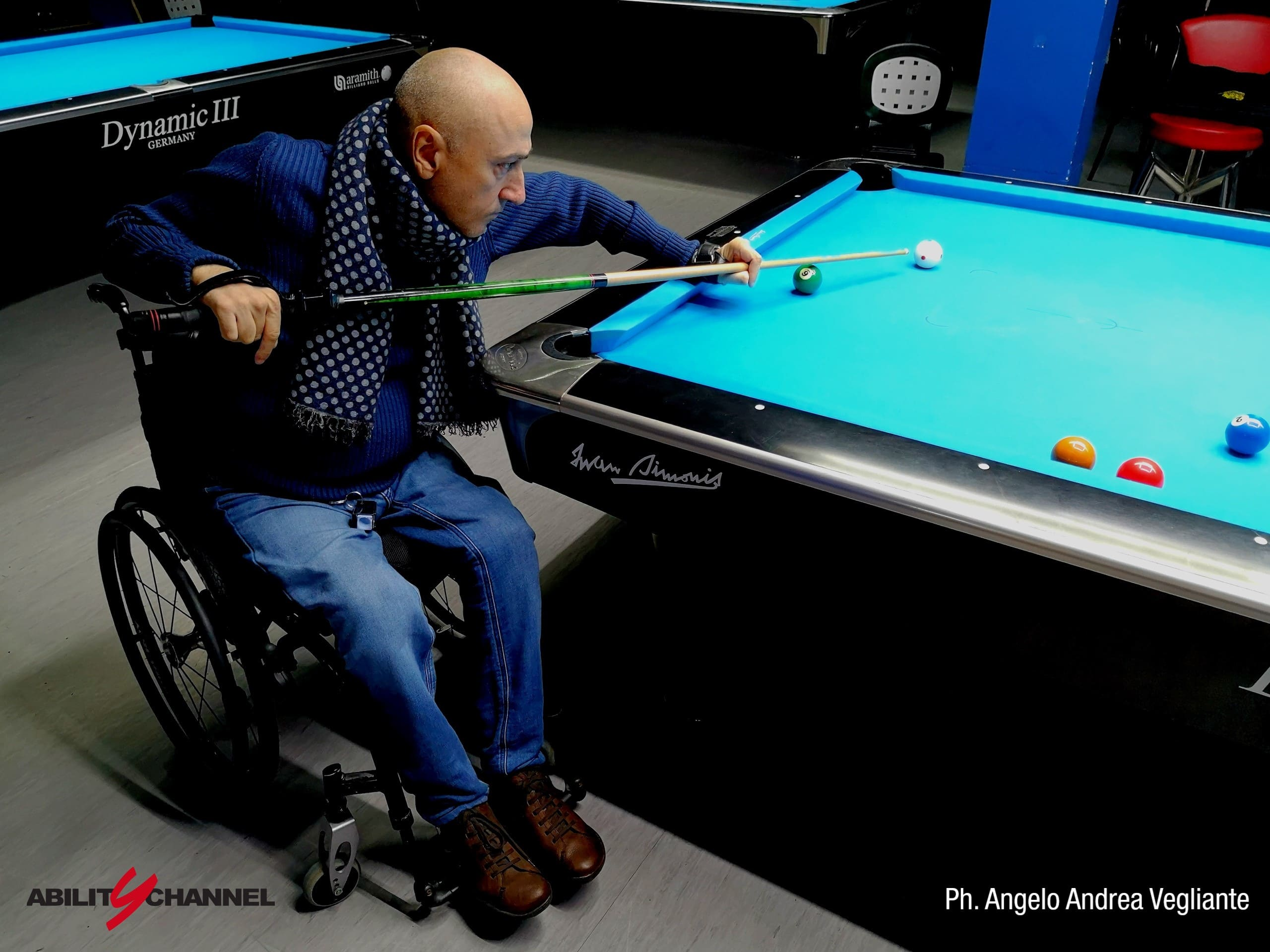 Wheelchair Billiards Ability Channel Luca Bucchi biliardino in carrozzina