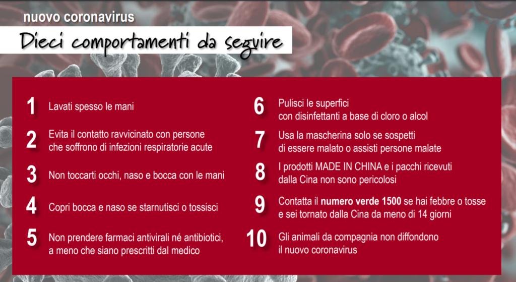 dieci comportamenti da seguire sul coronavirus italia