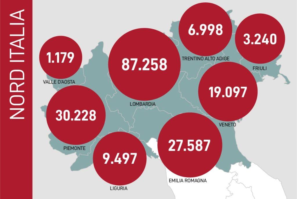 dati contagi coronavirus nord italia 25 maggio 2020