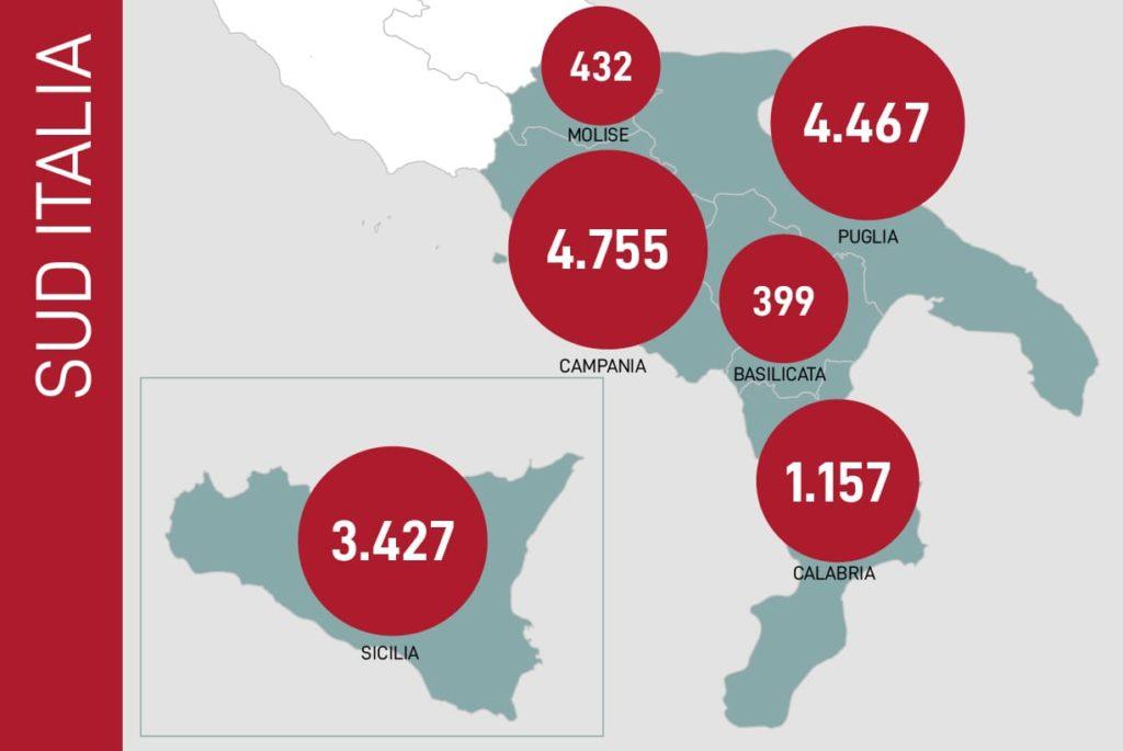 dati contagi coronavirus sud italia 25 maggio 2020