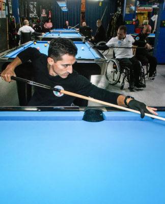 wheelchair biliard player