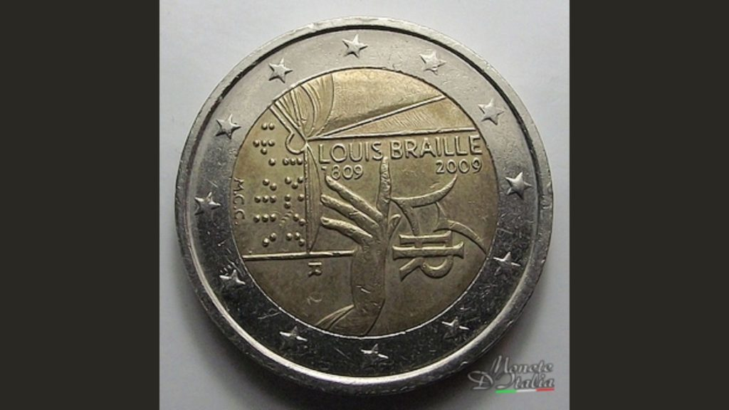 2 euro louis braille