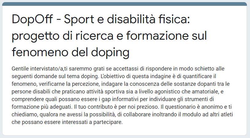 sport per disabili ricerca doping
