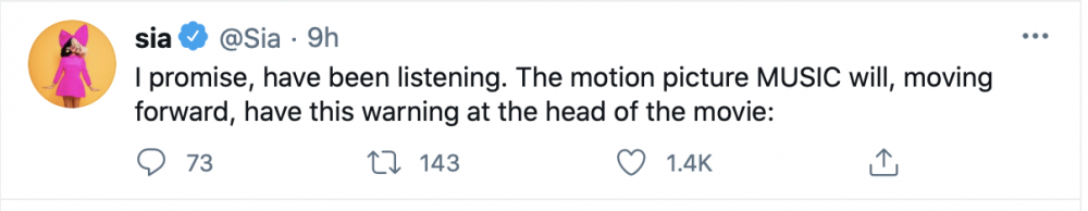 tweet sia su film music